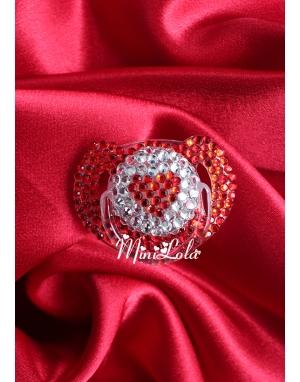 Kalp şeklinde swarovski taşlı gümüş kırmızı emzik
