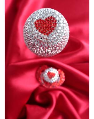 Kalp şeklinde swarovski taşlı gümüş kırmızı biberon