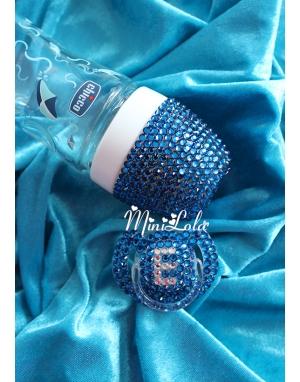 Mavi swarovski taşlı isimli biberon