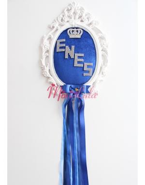 Saks mavisi kadife kumaşlı kral taç gümüş isim yazılı süslü kapı süsü