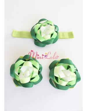 Açık yeşil koyu yeşilli şirin daire şekilli ayak-saç bandı seti