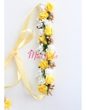 Sarı beyaz minik güllü tomurcuk süslü bağlamalı saç bandı