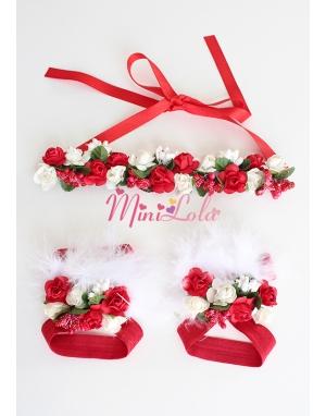 Kırmızı beyaz minik güllü tomurcuk süslü ayak-saç bandı seti