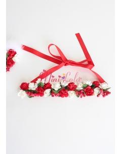 Kırmızı beyaz minik güllü tomurcuk süslü bağlamalı saç bandı