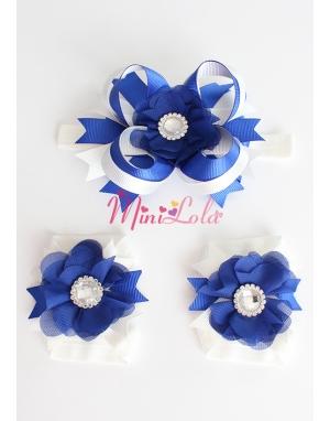 Saks mavi krem renkli şifon çiçek taş süslü ayak-saç bandı seti