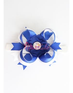 Saks mavi krem renkli şifon çiçek taş süslü saç bandı