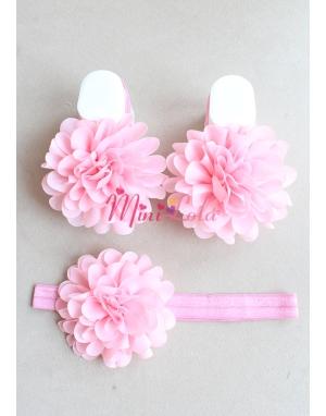 Pudra pembe çiçekli ayak-saç bandı seti