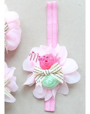 Toz pembe şifon çiçekli yeşil fuşya güllü şirin ayak-saç bandı seti