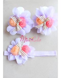 Lila şifon çiçekli turuncu fuşya güllü şirin ayak-saç bandı seti