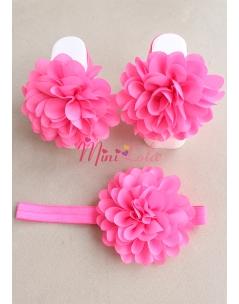 Şeker pembe çiçekli ayak-saç bandı seti