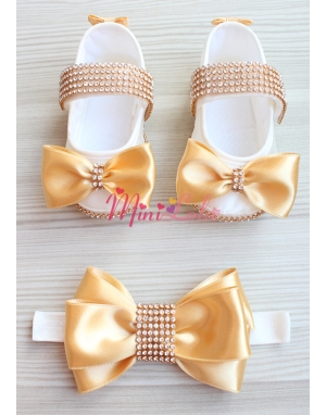 Gold krem renkli gold taş işlemeli fiyonklu patik saç bandı seti