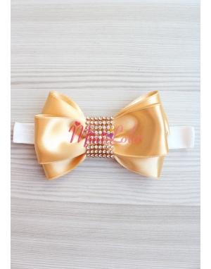 Gold krem renkli gold taş işlemeli fiyonklu anne kız takımı