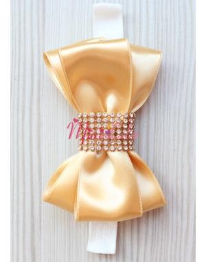 Gold krem renkli gold taş işlemeli fiyonklu saç bandı