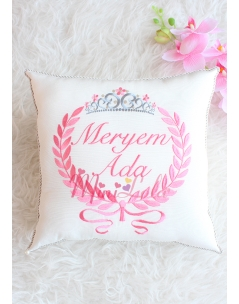 Gülkurusu pembe renk gümüş prenses taç detaylı takı yastığı