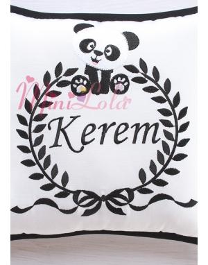 Siyah beyaz renkli şirin panda desen nakışlı takı yastığı