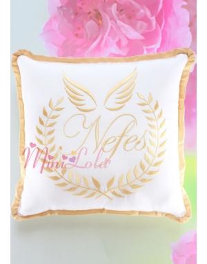 Dore melek kanat isim işlemeli krem takı yastığı