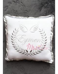 Gri melek kanat isim işlemeli takı yastığı