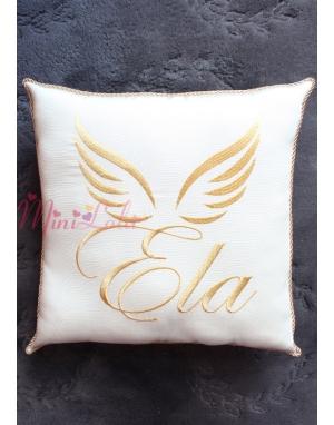 Dore renk melek kanat isim işlemeli isimli takı yastığı
