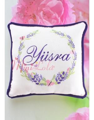 Mor lila renkli lavanta kelebek desen işlemeli isimli takı yastığı