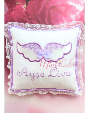 Krem kadife kanatlı lila melek kanat işlemeli dantelli takı yastığı