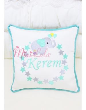 Gri mint yeşili yıldız fil desenli isim işlemeli krem takı yastığı