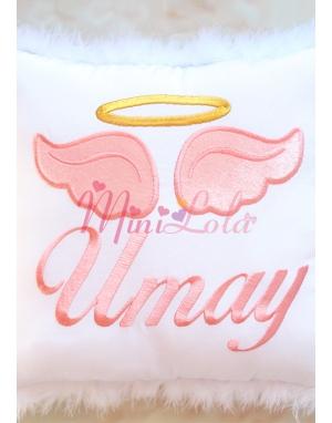 Beyaz renkli somon melek kanat işlemeli gold isimli tüylü takı yastığı