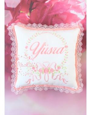 Somon tonları rokoko çiçek işlemeli isim dantelli zarif takı yastığı