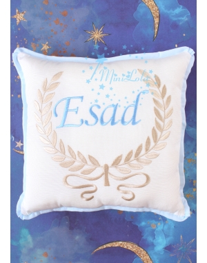 Vizon sarmaşık desen mavi isim işlemeli krem takı yastığı