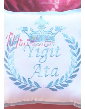 Mavi renk taç isim işlemeli kişiye özel takı yastığı