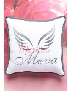 Gri renk melek kanat isim işlemeli isimli takı yastığı