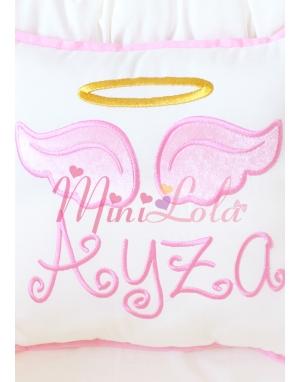 Krem renkli pembe melek kanat işlemeli gold isim detaylı takı yastığı