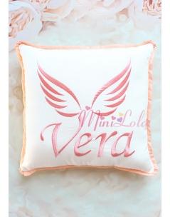 Somon renk melek kanat isim işlemeli isimli takı yastığı