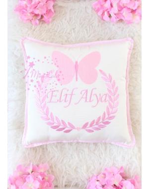 Açık pembe renk kelebekli isim işlemeli krem takı yastığı
