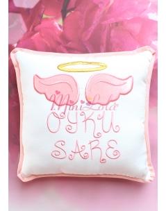 Krem renkli somon melek kanat işlemeli gold isim detaylı takı yastığı