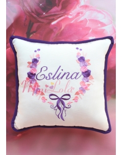 Mor somon pembe gül desenli fiyonk nakış işlemeli isime özel takı yastığı