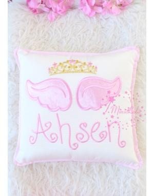 Pembe melek kanat işlemeli gold prenses taçlı takı yastığı