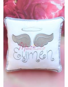 Beyaz renkli gri gümüş melek kanat işlemeli isimli takı yastığı