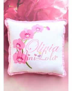 Şeker pembe orkide çiçekli isim işlemeli takı yastığı
