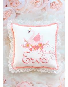 Somon pembe gold kuğu desenli dantel detaylı takı yastığı