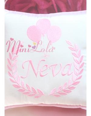 Toz pembe renk balon isim işlemeli kişiye özel takı yastığı