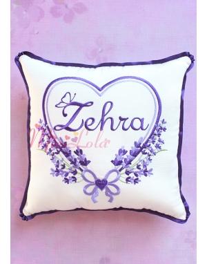 Mor lila renkli kalpli lavanta desen işlemeli isimli takı yastığı