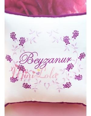 Lila mor renkli sarmaşık çiçek desenli krem takı yastığı