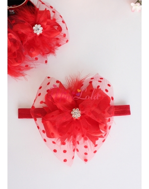 Kırmızı renk fiyonklu puantiye tül tüy süslemeli mini çiçek taşlı şık saç bandı