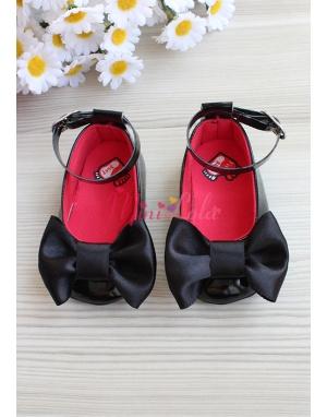 Siyah renk fiyonklu şirin saç bandı ayakkabı seti