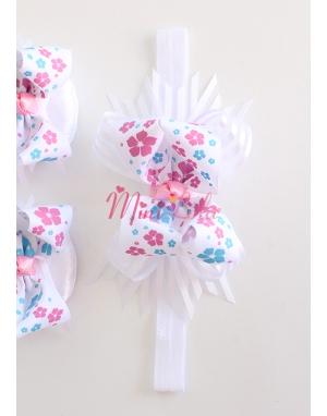 Pembe mavi çiçek desenli fiyonklu saç bandı