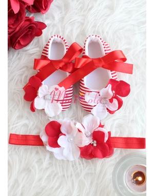 Kırmızı beyaz renk çiçek taş detaylı patik saç bandı takımı