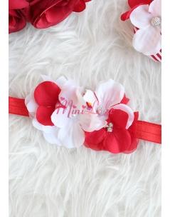 Kırmızı beyaz renk çiçek taş detaylı saç bandı