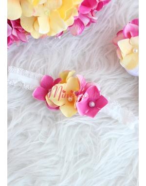Sarı pembe renk çiçekli taş detaylı zarif saç bandı