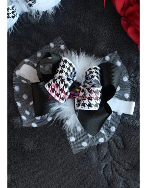 Beyaz siyah desenli tüylü fiyonk süslemeli saç bandı