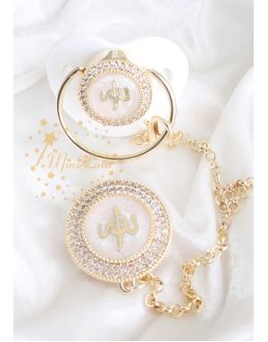 Gold zirkon taşlı ekru Allah yazılı emzik zincir seti